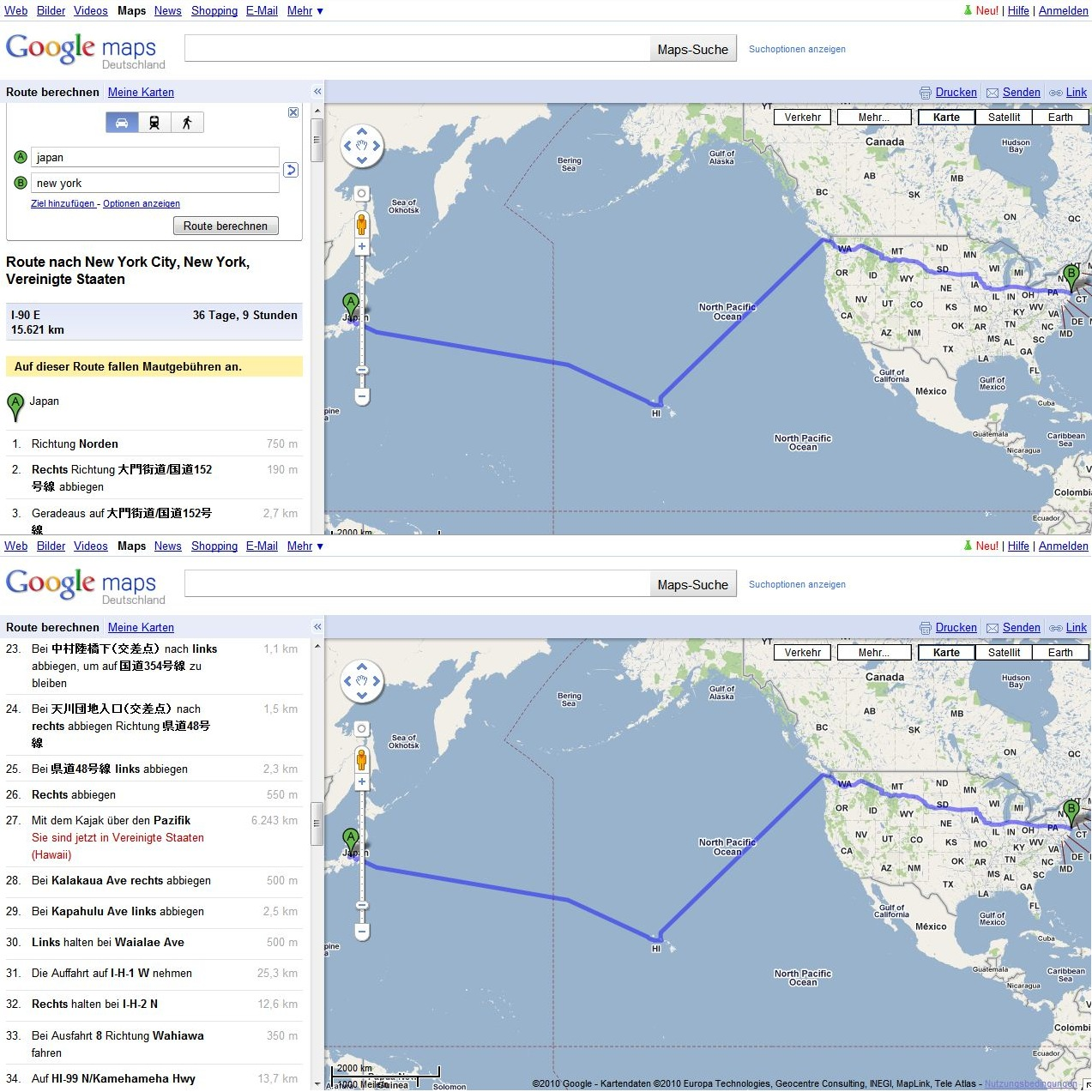 Google Maps schickt den Anwender mit dem Kajak über den Pazifik