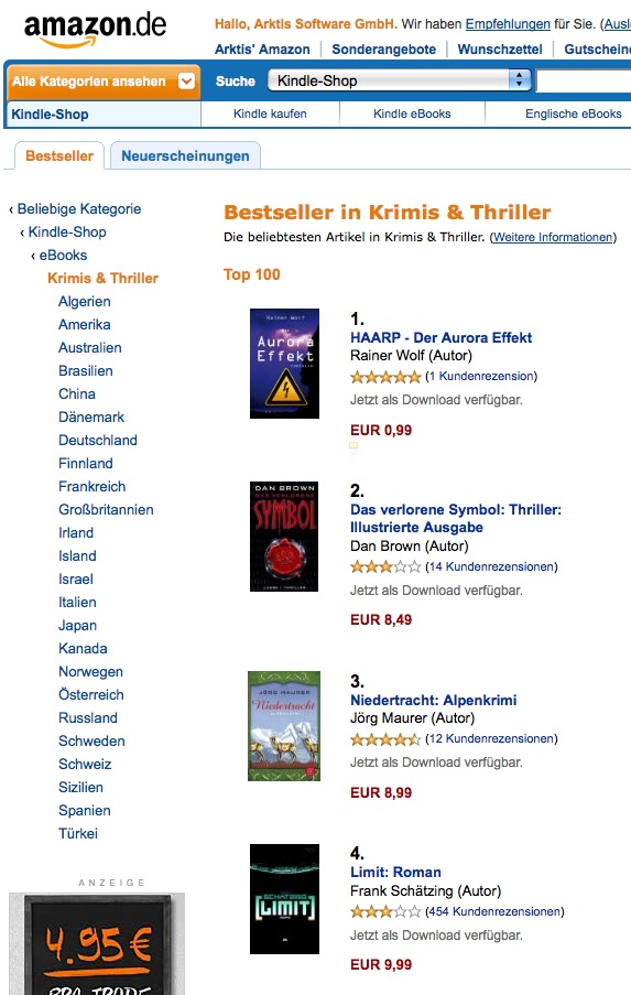 """Bei eBooks ist alles möglich: Platz 1 von """"Der Aurora Effekt"""" noch vor Brown und Schätzing!"""