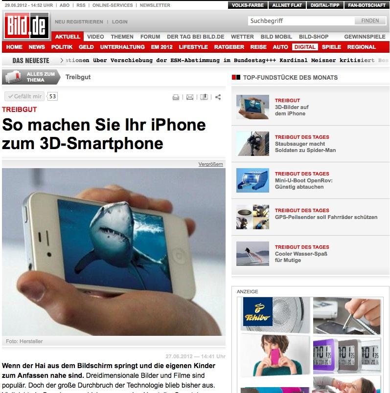 3D-Upgrade-Kit als Titelstory auf bild.de am 27.6.2012