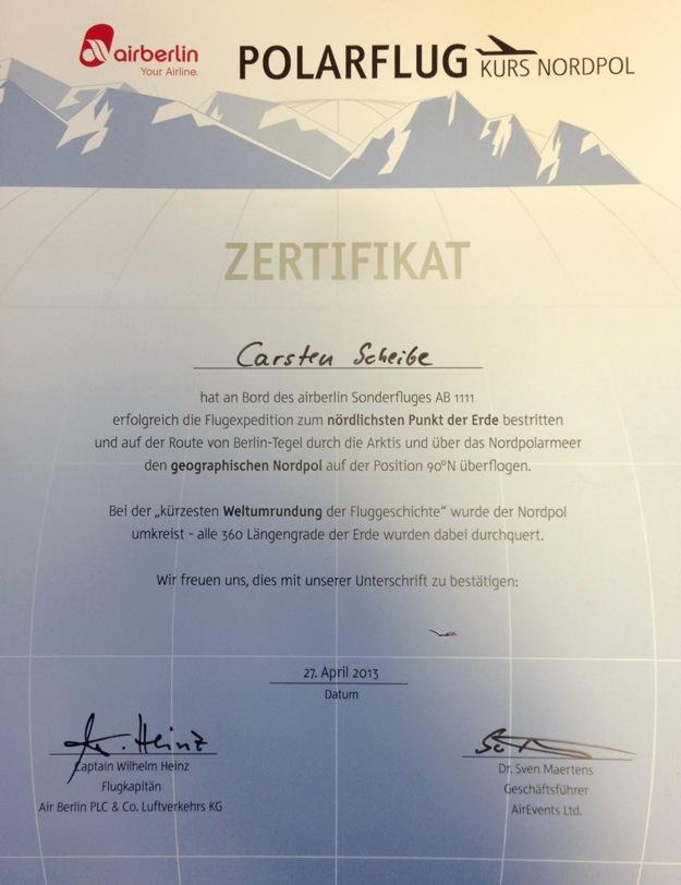 arktis.de Nordpol Flug mit Zertifikat