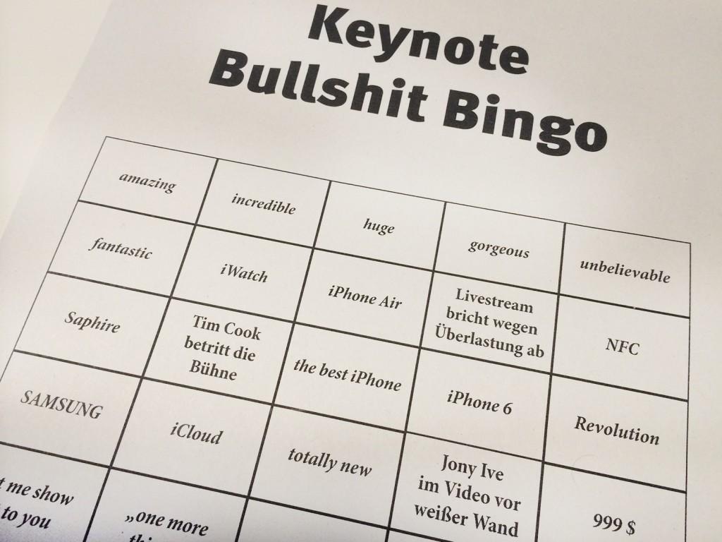 Keynote Bullshit Bingo - wer spielt mit? ;-)