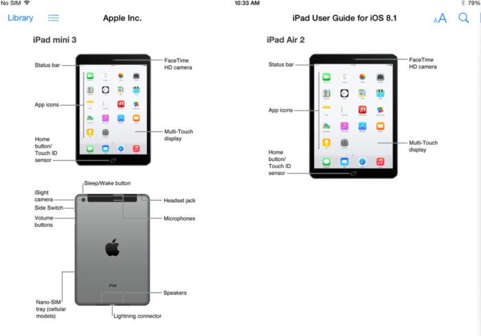 iBooks Screenshot von Apples iPad User Guide