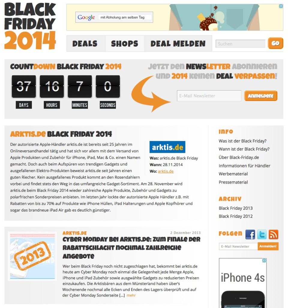 Am 28. November 2014 ist Black Friday