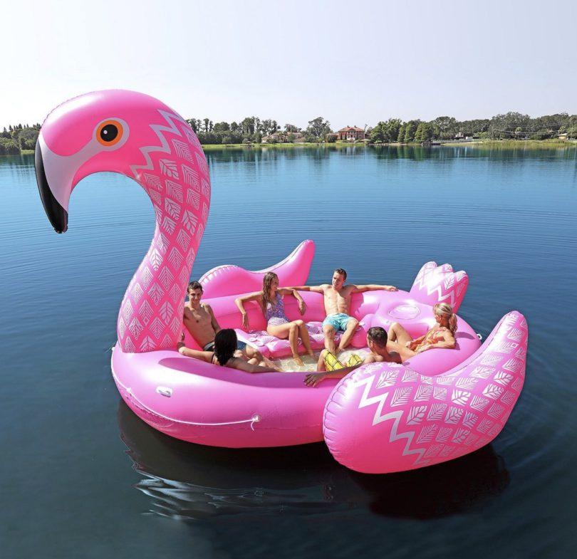 Riesige Flamingo Schwimminsel für 6 Personen