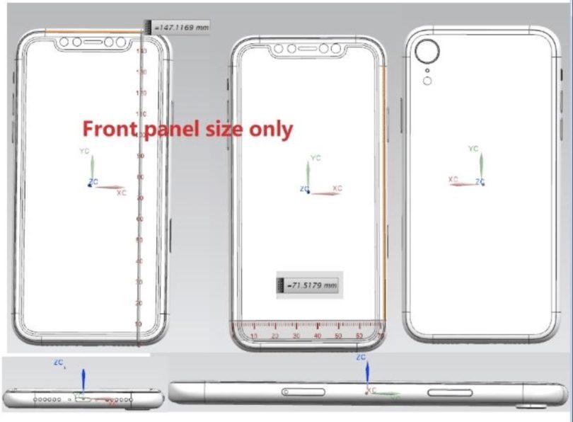 Technische Zeichnung iPhone 9