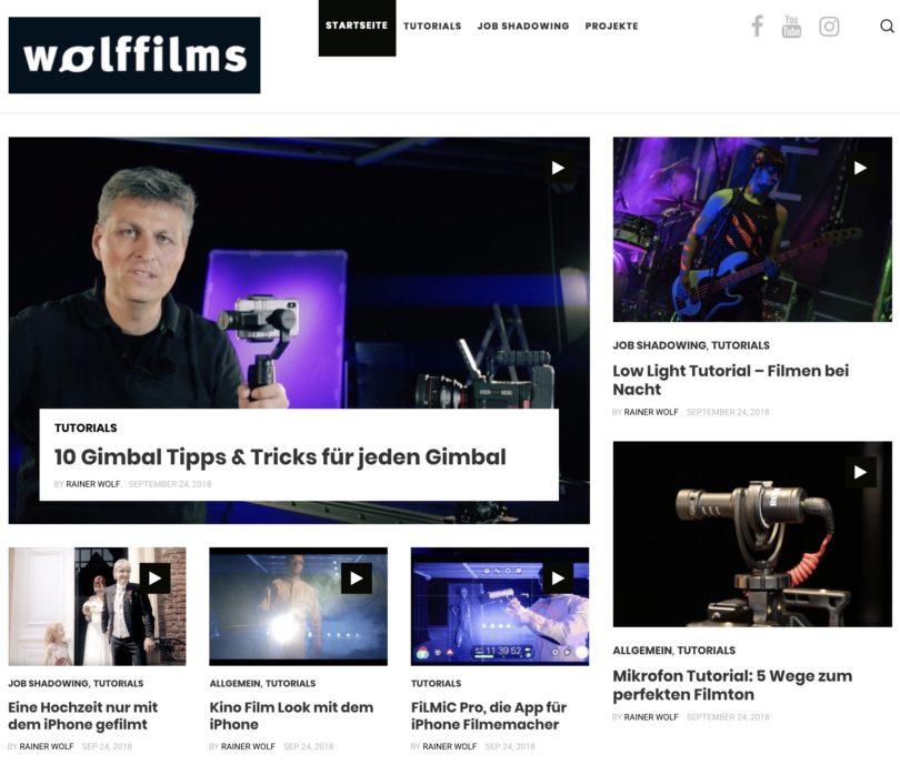 Tutorials für Filmemacher auf www.wolffilms.de
