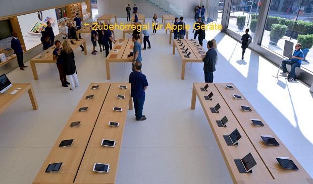 Neuer Apple Flagship Store mit einem Regalbrett für Drittanbieter-Zubehör