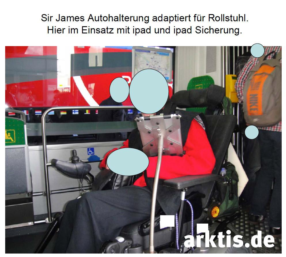 Sir James iPad Autohalterung modifiziert für den Rollstuhl