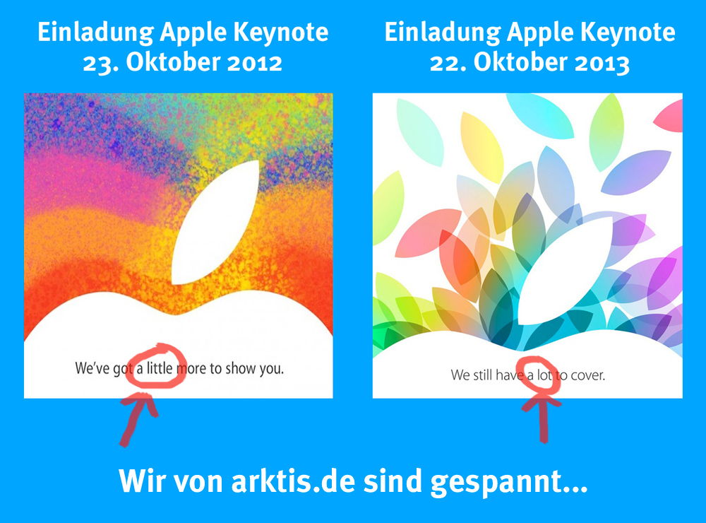 Vergleich Apple Keynote Einladung 2012 und 2013