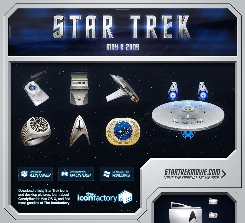 Desktop Icons für StarTrek Fans. Bei mir surrt dann aber eher noch das Lichtschwert.