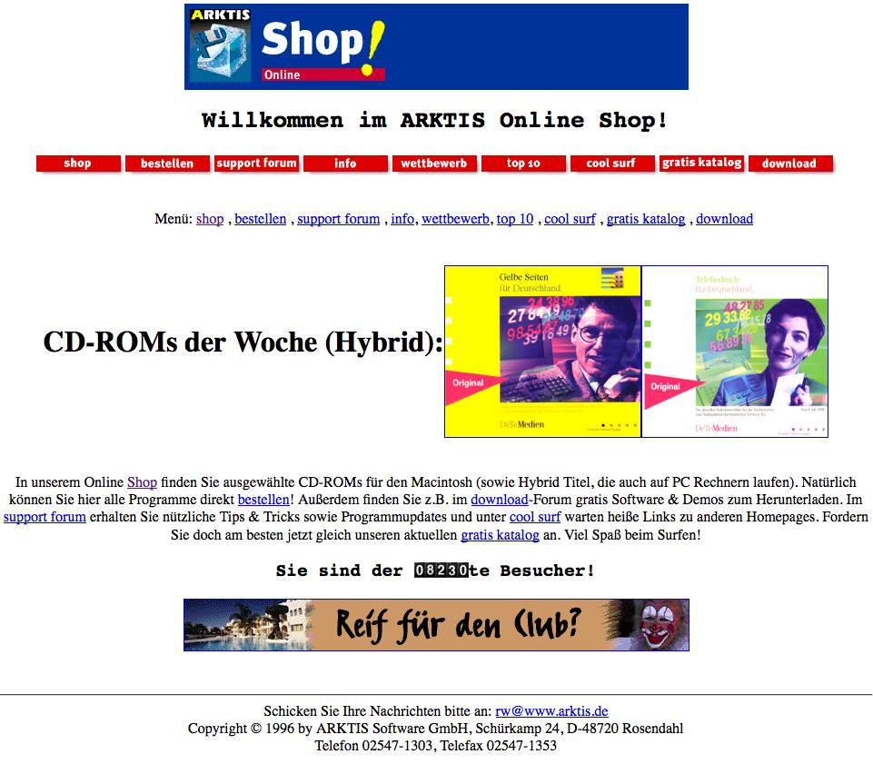 Jeder fängt mal an. Die ersten Webshop Versuche von arktis.de