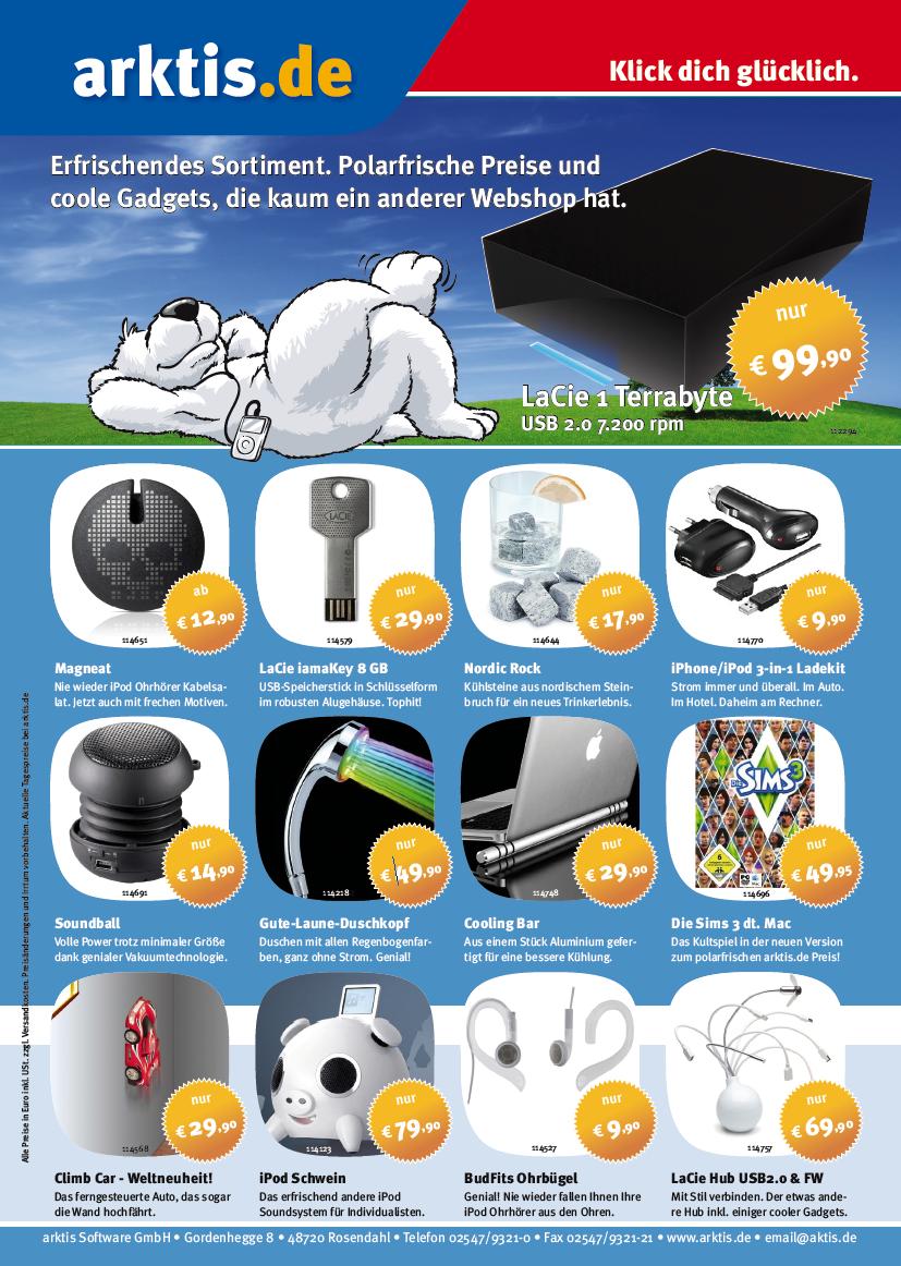Die aktuelle Arktis Werbeanzeige im Juni 2009