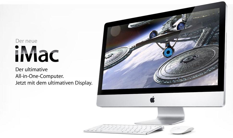 """Der neue iMac. Jetzt mit dem ultimativen LED-Display in 21,5"""" oder 27"""" Größe."""