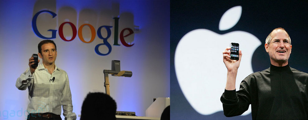 Das neue Google Nexus One vs. iPhone. Fotoquelle: engadget.com