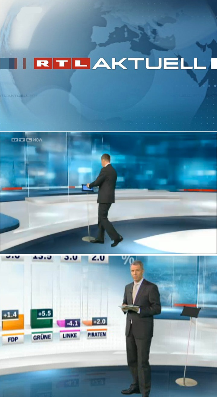 Unser iPad Sir James Bodenständer in der gestrigen RTL Aktuell Wahlsendung