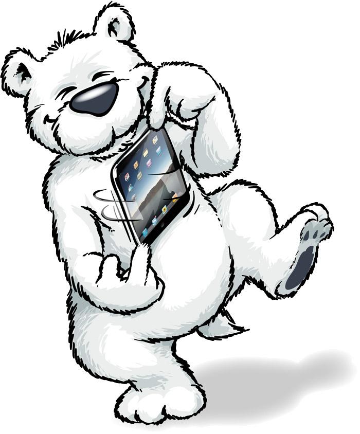 Unser Arktisbär freut sich aufs iPad.... aber noch sind die Vertriebskanäle in Deutschland nicht klar.