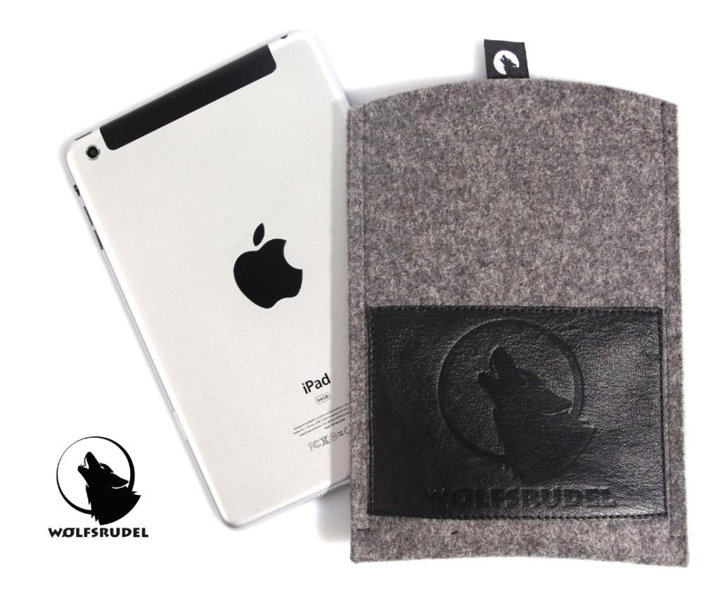 Wolfsrudel iPad mini Hülle Grau-Meliert