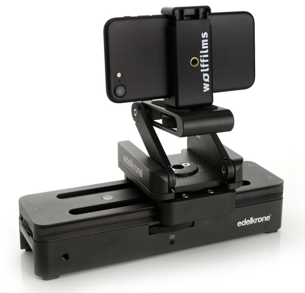 edelkrone SliderONE mit Wolffilms iPhone Halterung