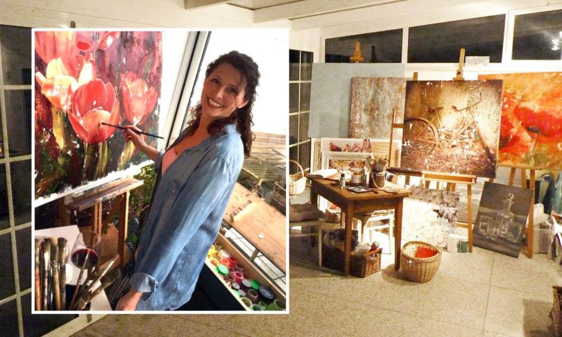 Jessica Zugehör malt mit den Farben der Natur