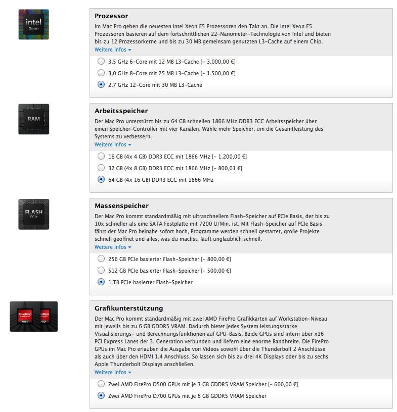 9598,99 Euro kostet der Apple Mac Pro in der Vollausstattung!