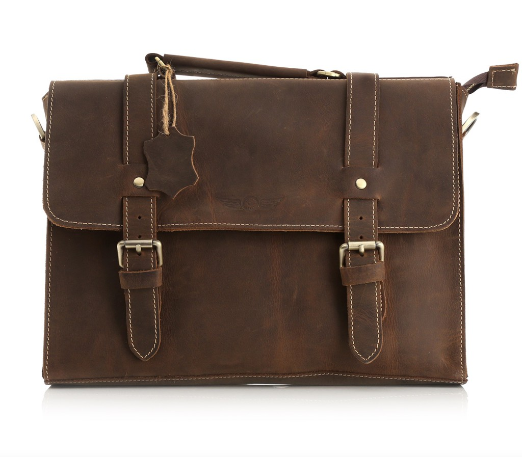 """Aviato """"OXFORD"""" Vintage Echtledertasche für MacBook Air und iPad"""