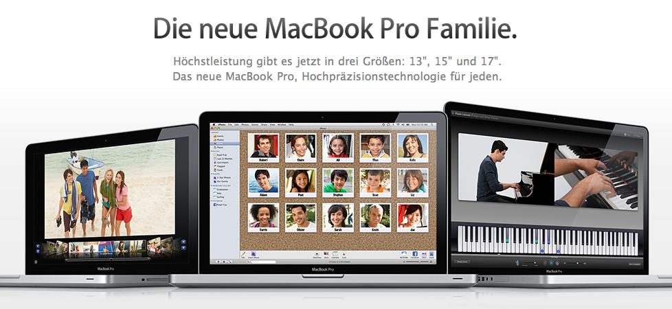 Die neue Apple MacBook Pro Familie