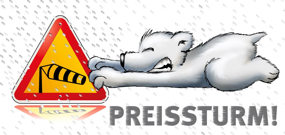 Täglich um 12.00 Uhr weht ab sofort ein heftiger Preissturm auf arktis.de